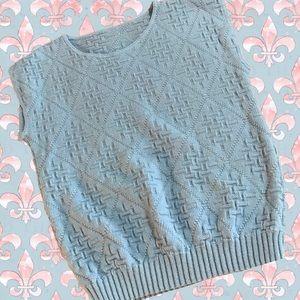 Women's 80's Style Sleeveless Basket Weave Metallic Sweater Vest